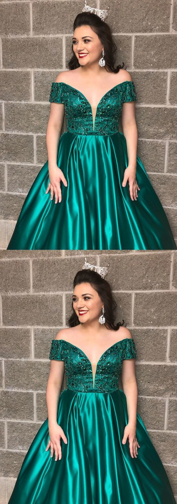 Gorgeous Off the Shoulder Green Long Ball Gown, Green Prom Dress M10342
