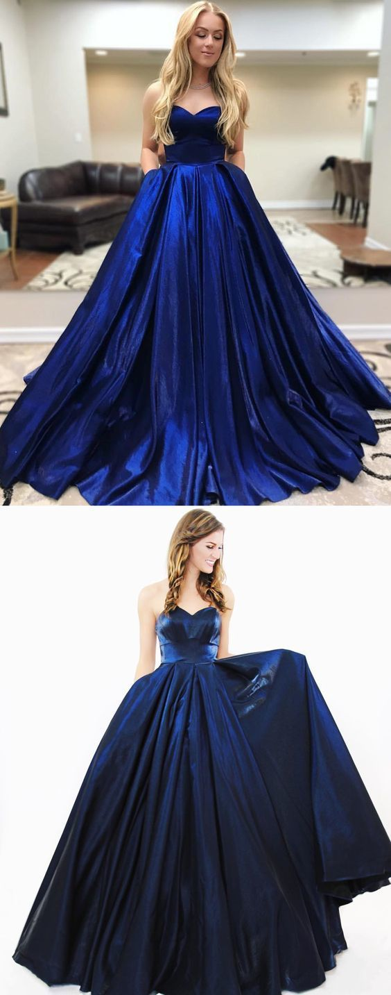 Gorgeous Sweetheart Navy Blue Prom Dress With Pockets M10343