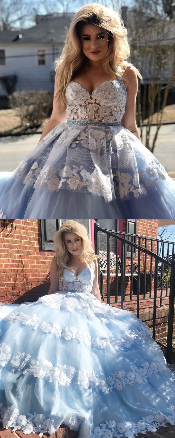 Gorgeous Halter Blue Long Prom Dress Ball Gown with White Lace M10344