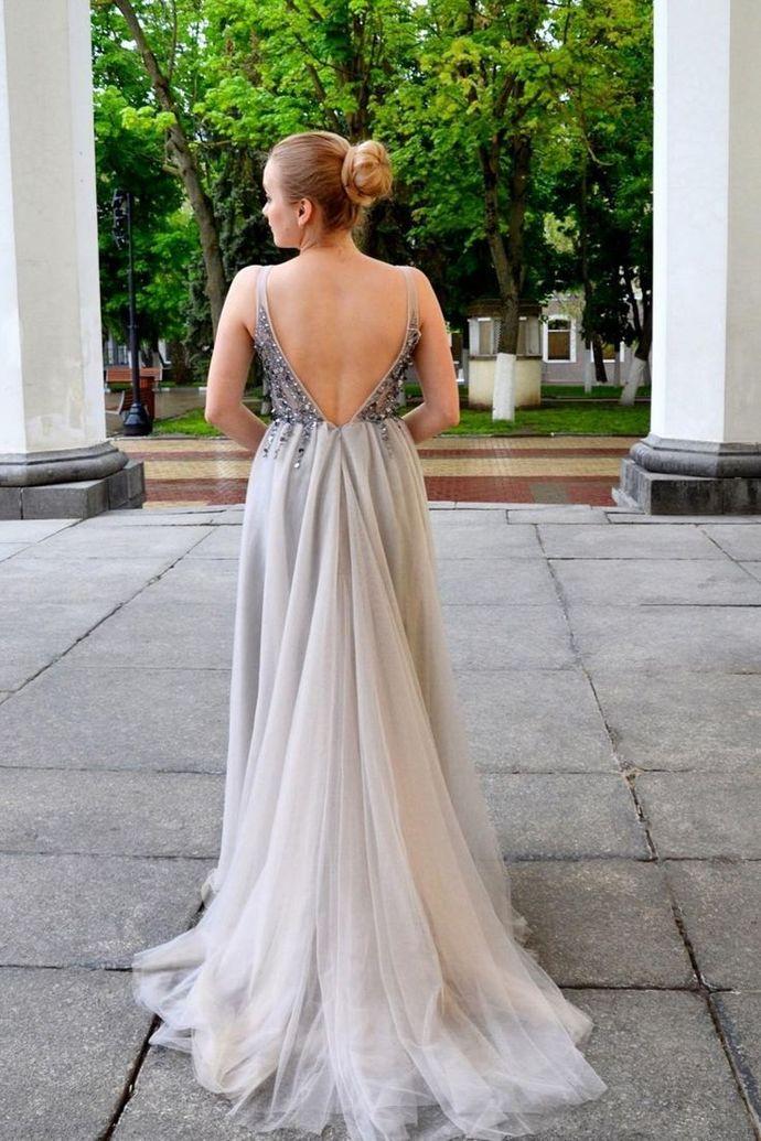 Elegant V Neck Grey Prom Dresses Evening Dresses M10347
