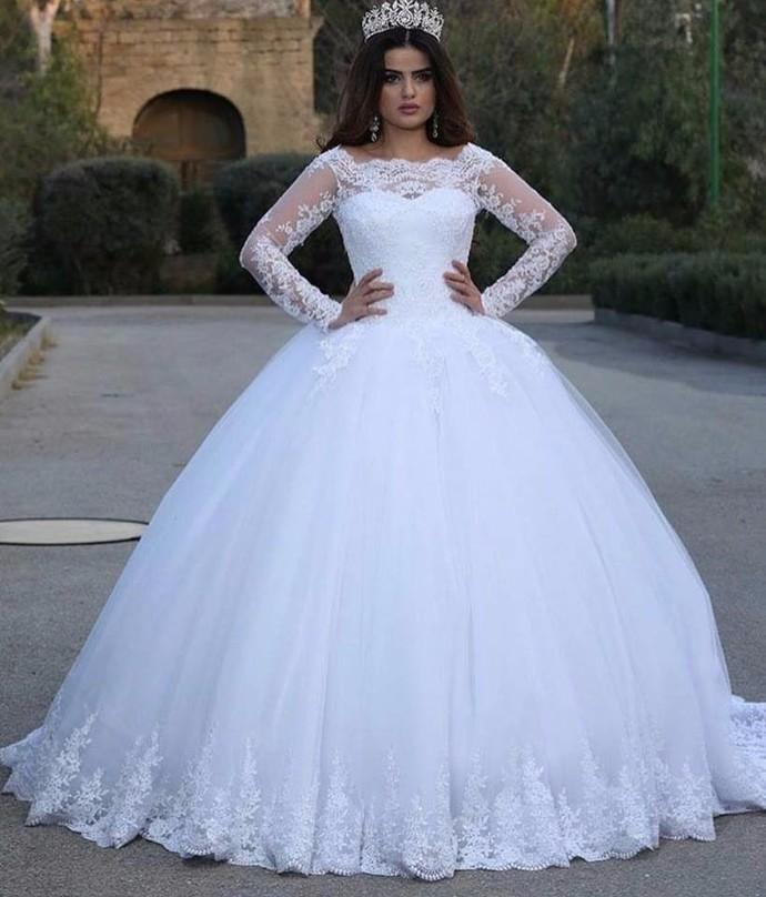 white wedding dresses 2021 simple lace applique long sleeve princess elegant