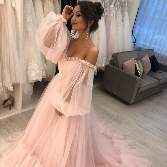 simple prom dresses pink 2021 long sleeve v neck tulle cheap a line prom gowns