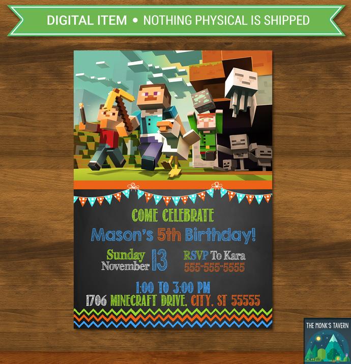 Minecraft Invitation Chalkboard Flags * Minecraft Invite * Minecraft Birthday *
