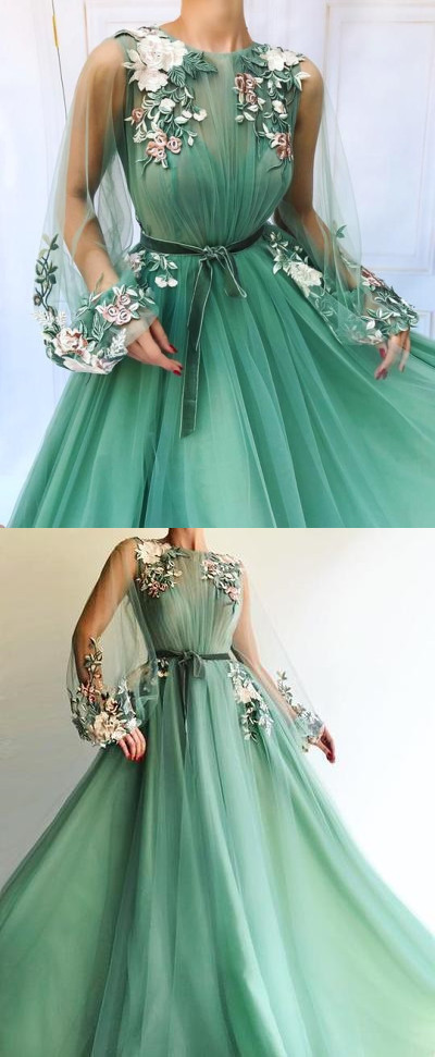 Sexy Long Sleeve Tulle A-Line Prom Dresses Sweetheart Applique Evening dress