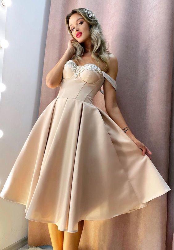Vintage Tea Length Prom Dresses Sweetheart Corset M10348
