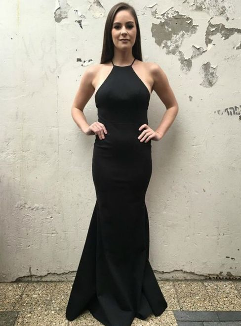 Simple Black Mermaid Spaghetti Straps Floor-Length Backless Prom Dress M10351