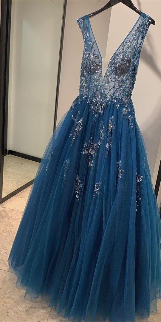 A-line V Neck Lace Tulle Prom Dress M10353
