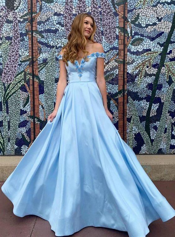 Blue Satin Off the Shoulder 3D Appliques Beading Prom Dress M10358