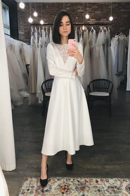 White Satin Prom Dress With Long Sleeves  M10360