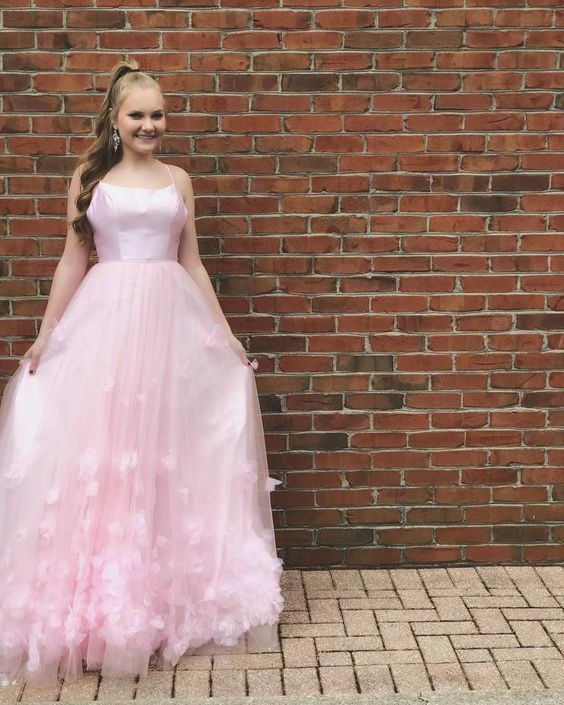 Custom Made Tulle Pink Prom Dress M10361