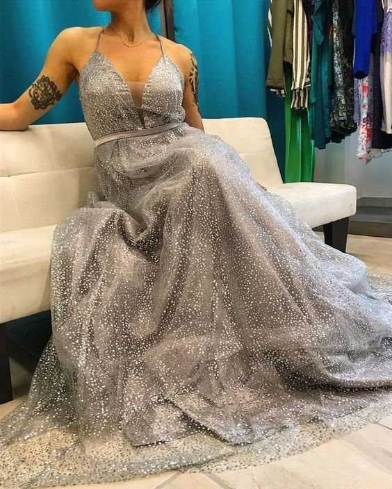 Sparkly spaghetti straps long prom dress M10364