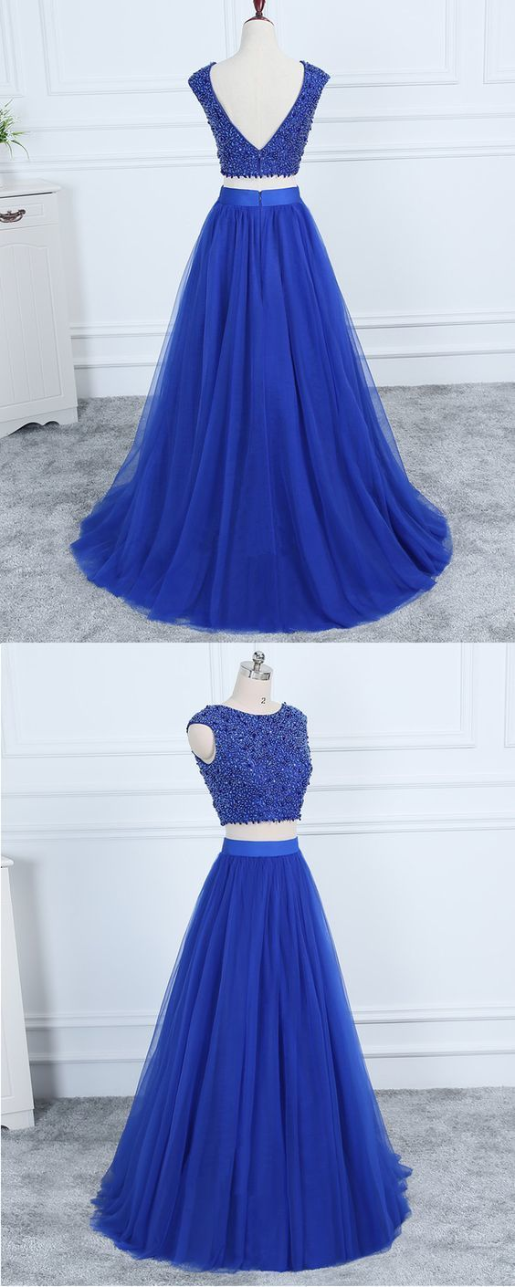 Royal Blue Tulle Scoop Neck Two Piece Beaded Long Evening Dress M10365