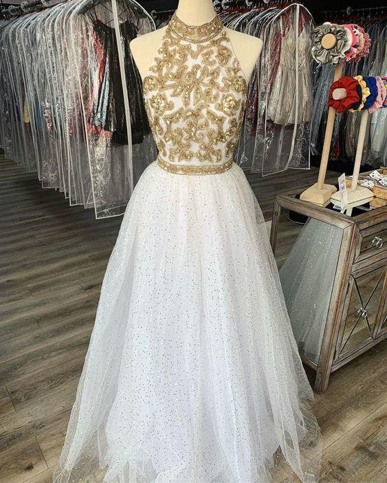 Halter Sleeveless Shiny Prom Dress  M10366