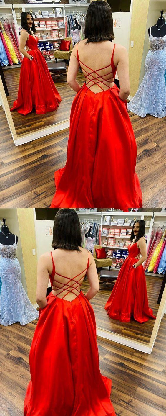 Charming Spaghetti Straps Satin A-Line Prom Dresses M10378