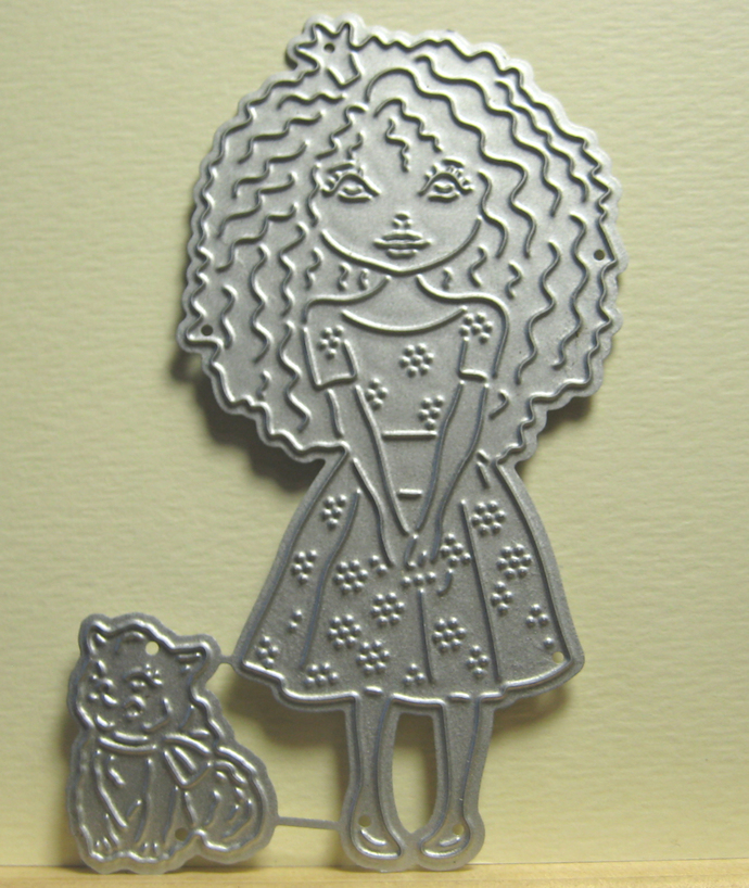 Girl with long wavy Hair and Cat Cutting Die
