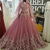 Ball Gown Bateau Pink Lace Satin Prom Dresses,DR0291