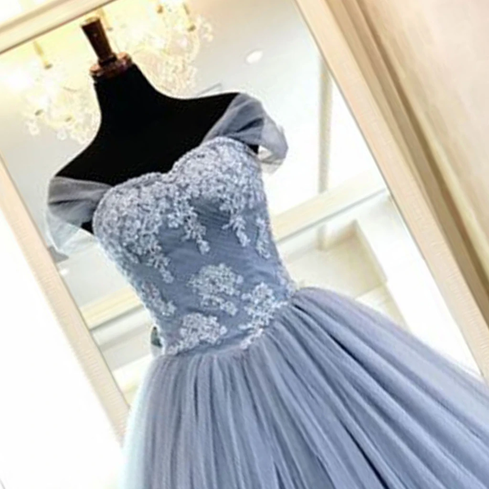 Charming Party Dresses, Beautiful ball Gown Light Blue Prom Gowns,DR0293