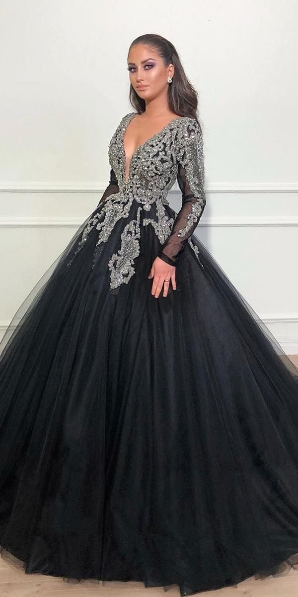 Charming Tulle Black Party Dresses, Beautiful Prom Gowns ,DR0294