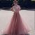 Elegant Rose Pink Prom Dresses Short sleeves A Line High Neck Sequins Beaded