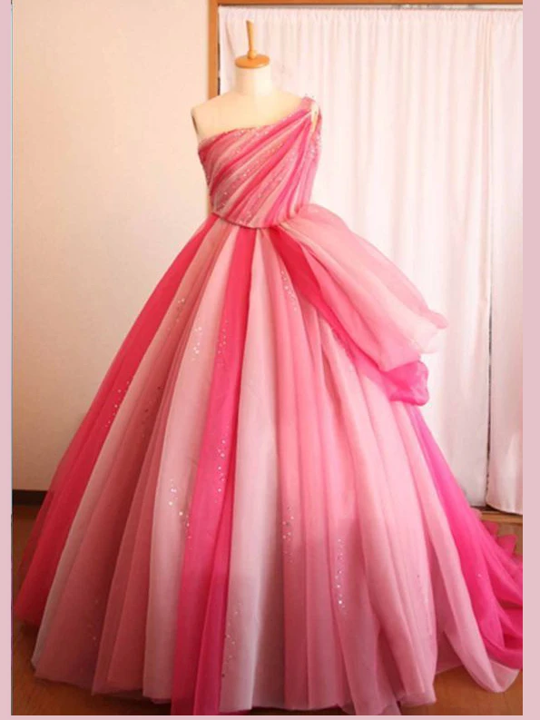 Chic A-line One Shoulder Ombre Prom Dresses Tulle Pink Long Prom Dress Evening
