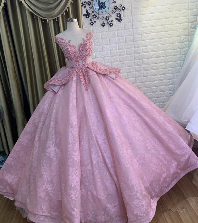 tulle princess long formal prom dress, long pink evening dress,DR0301
