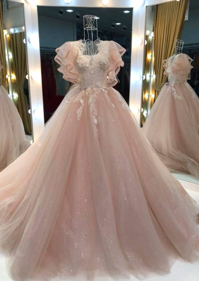 tulle princess long formal prom dress, long pink evening dress,DR0302