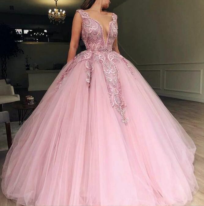 tulle princess long formal prom dress, long pink appliqués evening dress,DR0303