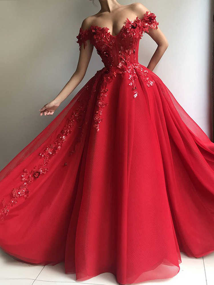 Ball Gown Prom Dress with Appliques, off the Shoulder Floor Length Tulle Red