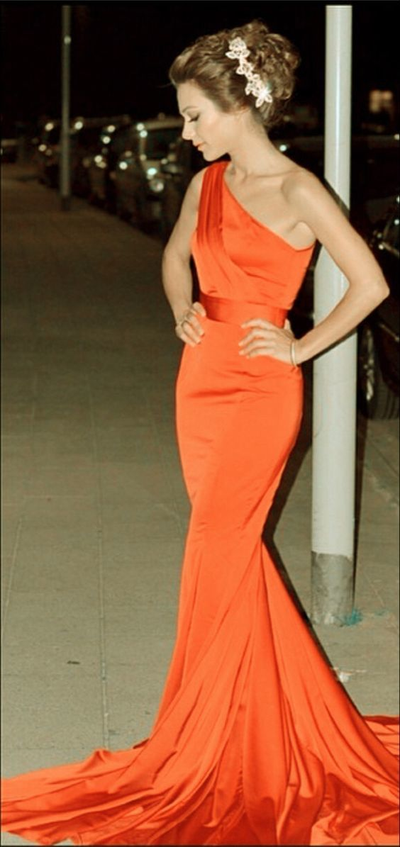 Charming orange mermaid prom dresses one shoulder satin formal gown M10379