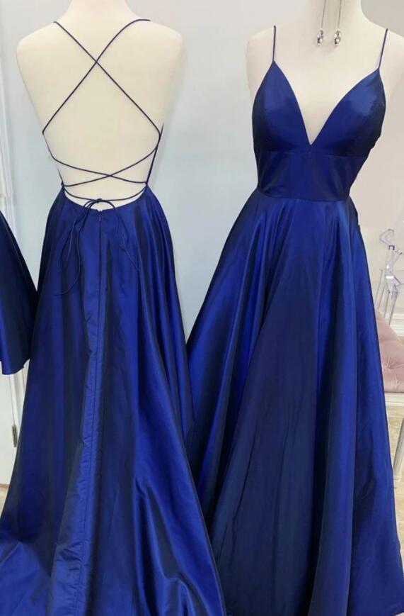 Charming  Satin Open Back V-neckline Floor Length Prom Dress, Blue Evening Dress