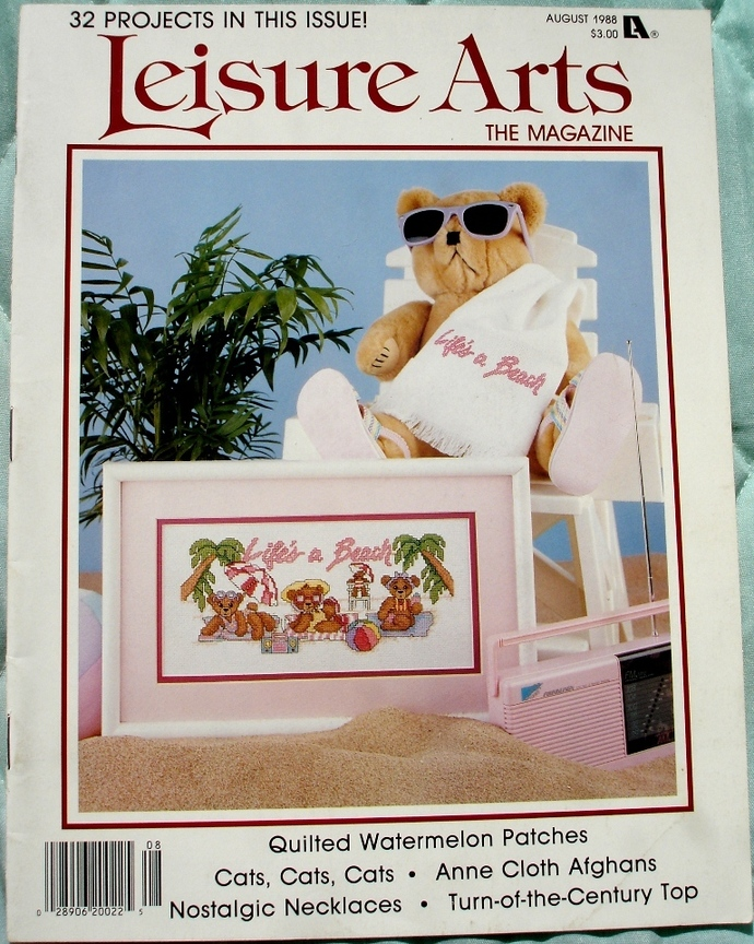 Leisure Arts The Magazine Life's A Beach Cross Stitch August 1988