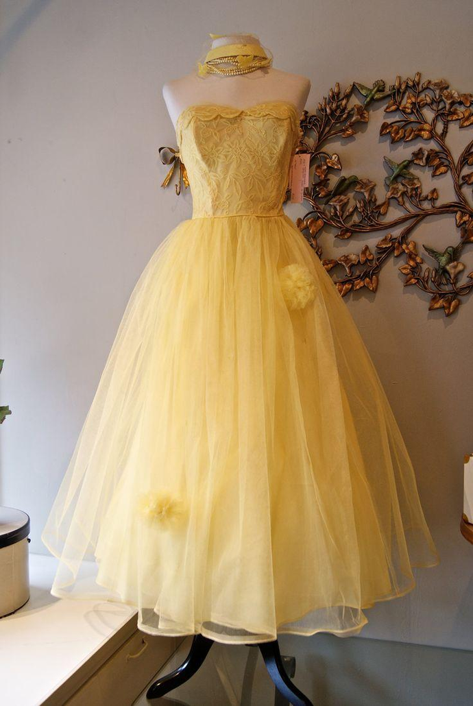 Yellow Tulle Prom Dress, Yellow Long Evening Dress,DR0311