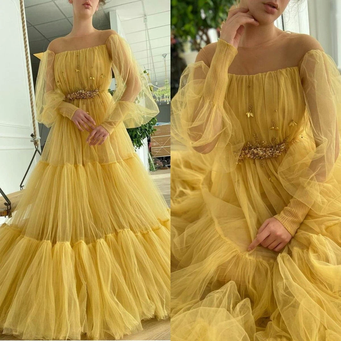 Yellow Beaded Long Sleeves Prom Dresses Off The Shoulder A Line Pleated Evening