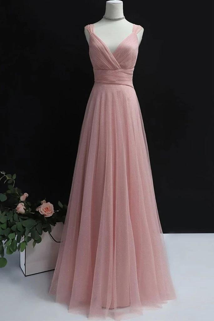 Simple A Line V Neck Pink Tulle Long Prom Dress,DR0315