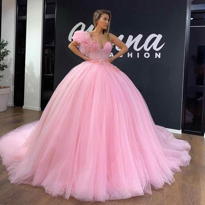 Sparkly Pink Ball Gown Prom Dresses With Sash Beads Lace Sweetheart Long Sweet