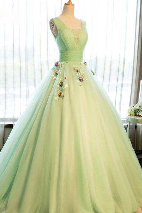 Beautiful light green tulle long prom dress ,party ball gown,evening
