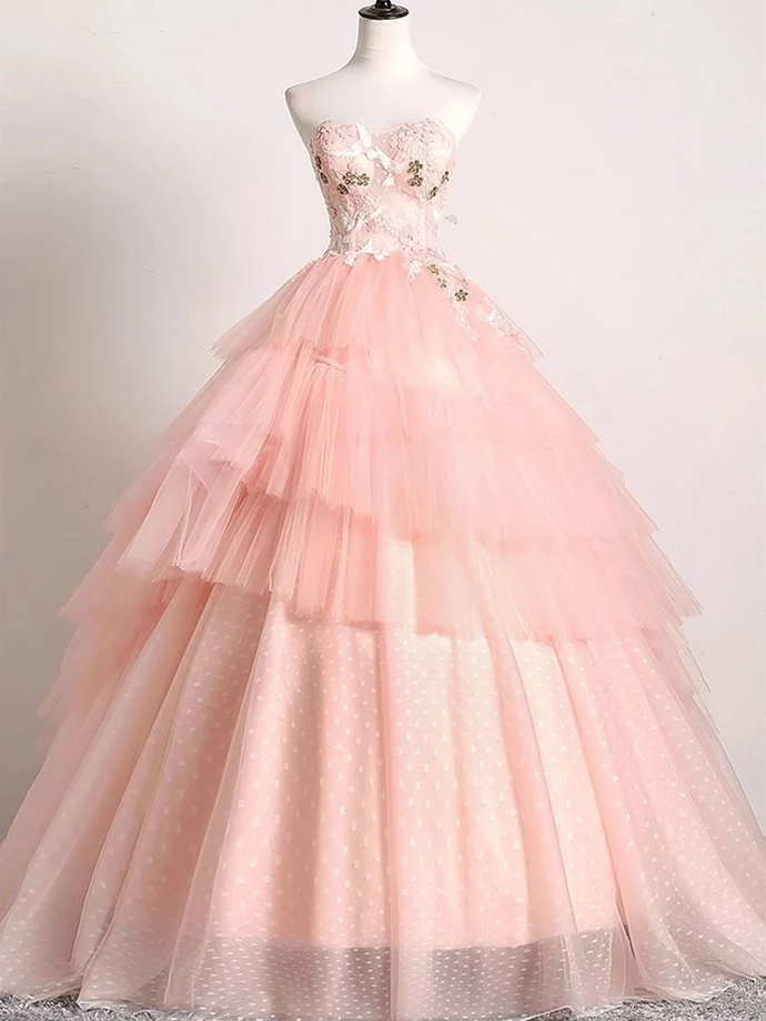 Ball Gown Long Pink Prom Dress with Lace,DR0328