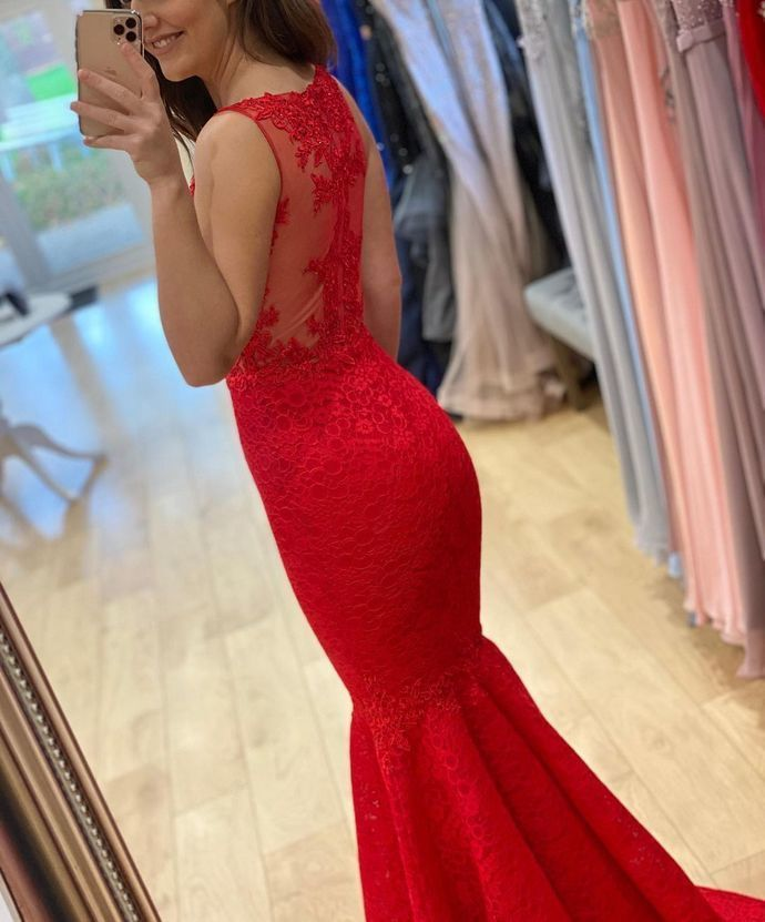 Mermaid Red Prom Dress, Long Prom Dresses ,Formal Prom Dress