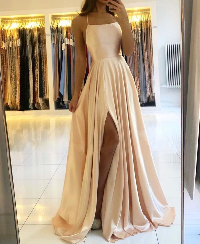 champagne cheap prom dresses long halter a line satin cheap simple sexy formal