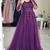 Long Sleeves Purple Lace Long Prom Dress, Purple Lace Formal Graduation Evening