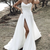 Simple beach chiffon prom dress leg split