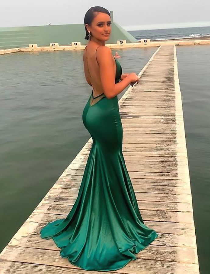 Sexy Mermaid Prom Dresses Spaghetti Straps,Backless Prom Dress