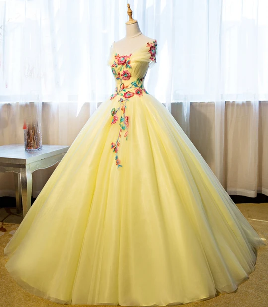 Princess yellow evening gown,DR0349