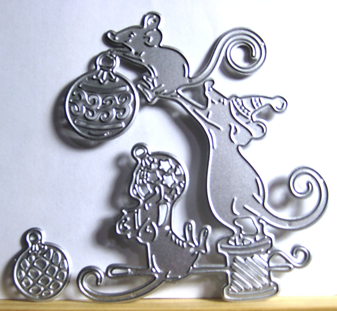 Mice Decorating with Ornaments Metal Cutting Die