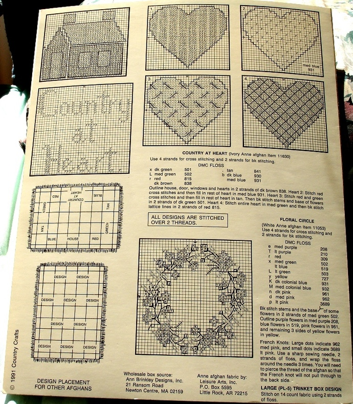Afghans And More Cross Stitch Chart Country Crafts No. 133 By Pat Waters