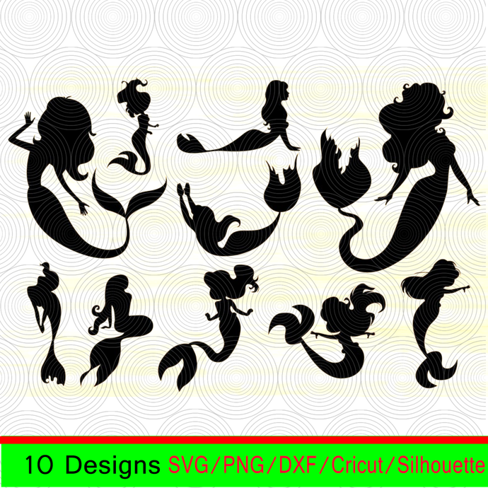 Mermaid Svg Mermaid DXF Mermaid Printable Mermaid Clipart Mermaid Digital Vector Mermaid