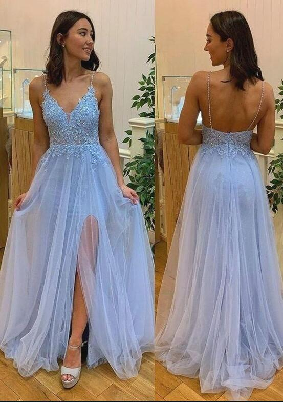 Light Blue Tulle Spaghetti Straps Evening Party Dress,Sky Blue Appliques Long