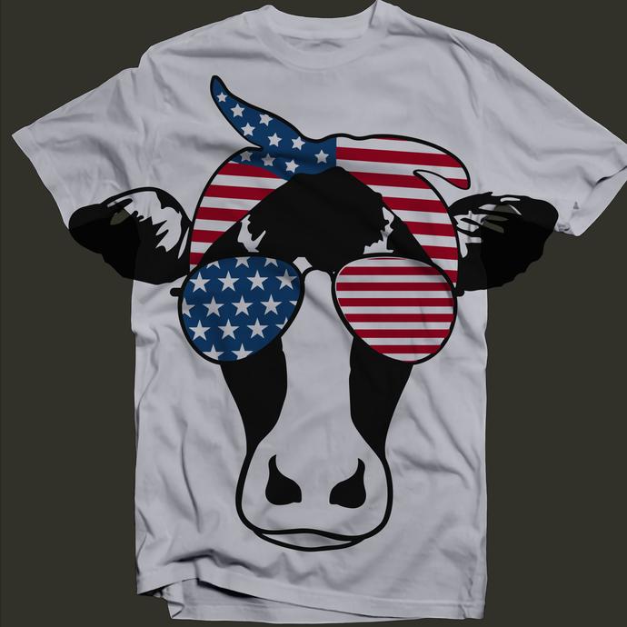 Cow with Bandana Svg, Heifer Svg, Cow Svg, Fourth of July Svg, Patriotic Svg,