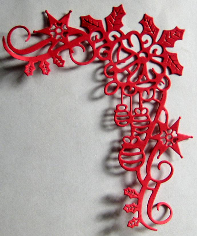 Holly Ribbon Ornaments Christmas Cutting Die