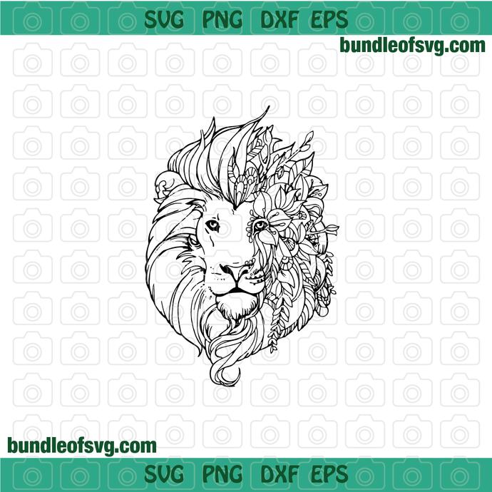 Lion with flowers lion head svg Lion svg,lion clipart,lion flower svg,lion face svg,Floral lion